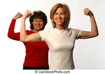two women in exercise mode