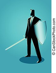 Ready To Fight - Business concept illustration of a...