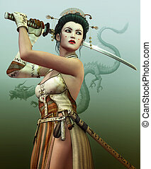 ready to fight for - a young asian woman with samurai sword