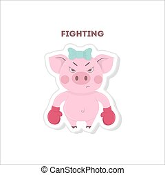 Ready to fight pig.