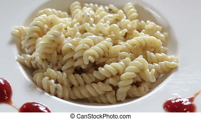Ready to have homemade cheese sauce pasta, stock footage