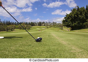 Ready to Hit Drive - a golfer ready to hit a drive on a Maui...