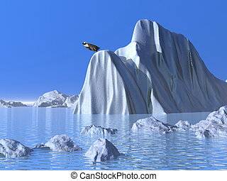 Ready to jump - 3D render - One penguin on a big iceberg...