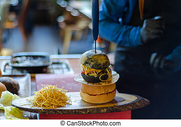 Ready to serve hamburger ,fast food.