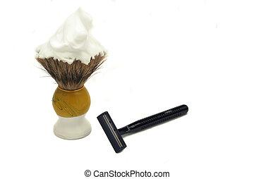 ready to shave - shaving cream on brush and razor