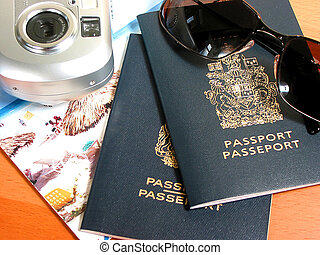 Ready to travel - Travel necessities: sunglasses, passports...