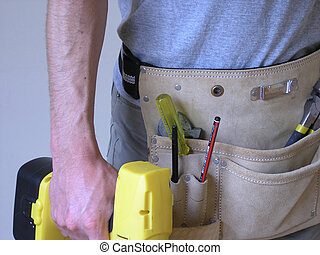 Man ready with tools for work.