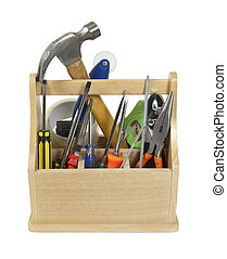 Ready Tools in Toolbox - Sturdy wooden toobox filled with...