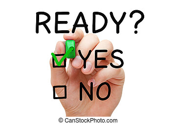 Ready Yes Or No Check Mark Concept - Hand putting check mark...