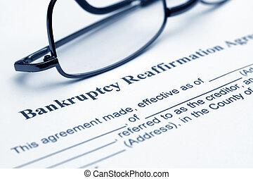 reaffirmation, överenskommelse, bankrutt