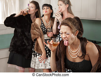 reage, mulher, forte, bebida