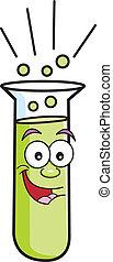 reagenzglas, karikatur