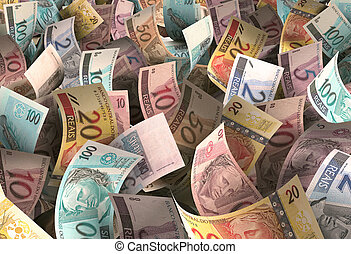 Reais - Several notes of brazilian money scattered ...