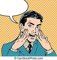 reaktion, firmanavnet, kunst, comics, mænd, affyre,...