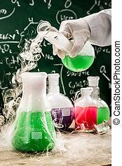 reaktionen, universität, prüfenden labor, chemische , neu