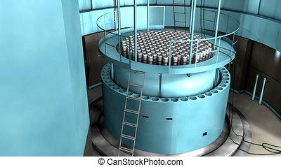 reaktor, moc, jądrowy, wewnętrzny, prospekt., roślina