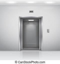 realístico, abertos, cromo, metal, elevador