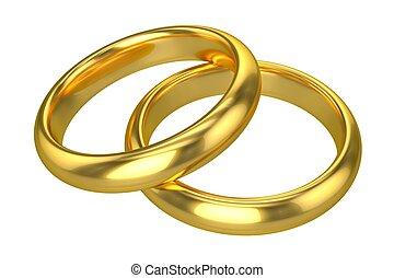 realístico, anéis, -, ouro, casório