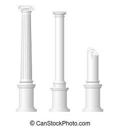 realístico, antigüidade, colunas
