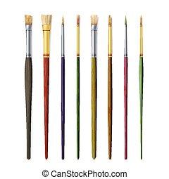 realístico, artista, pincéis, set., pintar escova, jogo, isolado, branco, experiência., vetorial, cobrança, para, artista, design., aquarela, acrilic, ou, óleo, escovas, com, luz, cabo madeira