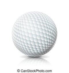realístico, bola golfe, isolado, branco, experiência., three-dimensional., vetorial, illustration.