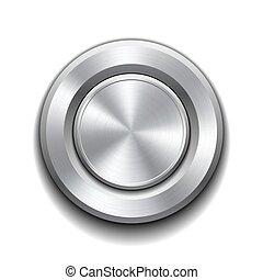 realístico, botão, metal