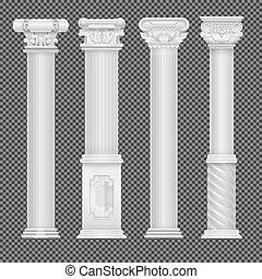 realístico, branca, antigüidade, romana, coluna, isolado, ligado, transparente, fundo