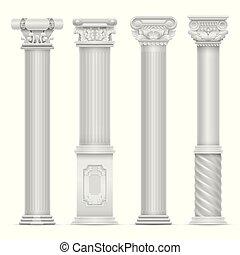 realístico, branca, antigüidade, romana, coluna, vetorial, set., pedra edifício, colunas