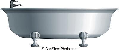 realístico, branca, banheira