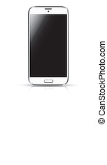 realístico, branca, vetorial, smartphone