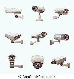 realístico, câmera, vigilância, ícones