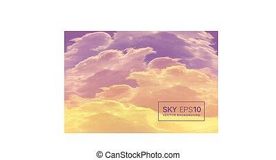 realístico, céu, violet-orange