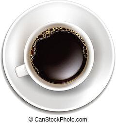 realístico, café, vetorial, topo, copo