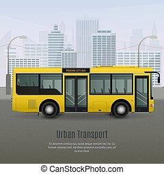 realístico, cidade, ilustração, autocarro