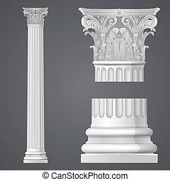 realístico, coluna corinthian
