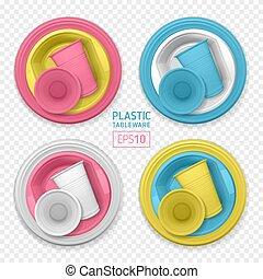 realístico, descartável, varicolored, plástico, dishes.,...