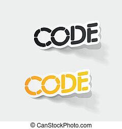 realístico, desenho, element:, código