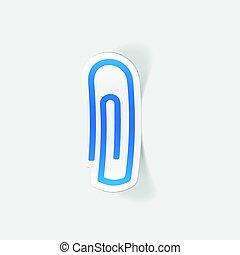 realístico, desenho, element:, clipe para papel