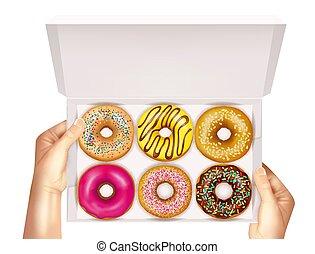 realístico, donuts, caixa, em, mãos