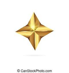 realístico, dourado, 3d, estrela, ícone, isolado, branco, experiência.