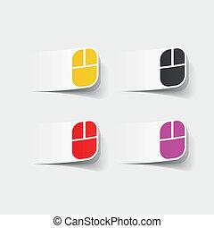 realístico, element:, computador, desenho, rato