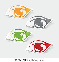 realístico, element:, desenho, olho