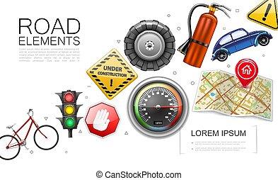 realístico, elementos, estrada, cobrança