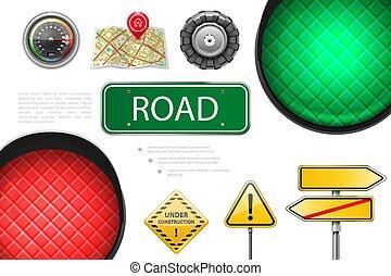 realístico, elementos, estrada, coloridos, composição