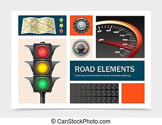 realístico, elementos, jogo, estrada
