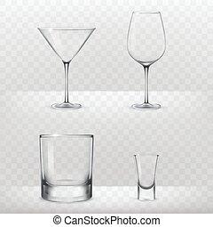 realístico, estilo, jogo, álcool, óculos
