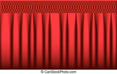 realístico, experiência., vetorial, cortina, curtain., vermelho