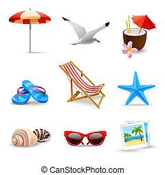 realístico, férias verão, ícones