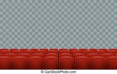 realístico, filas, de, vermelho, cinema, teatro filme, assentos, ligado, transparente, experiência.