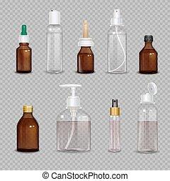 realístico, garrafas, transparente, fundo